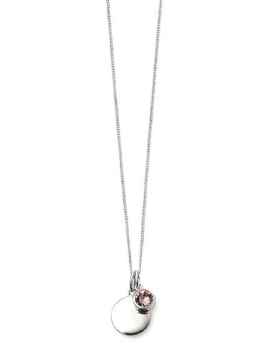 June Birthstone Light Amethyst Swarovski Pendant with Silver Engravable Disc Pendant and Chain